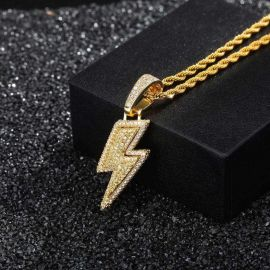 Colgante en forma de Relámpago de Oro con Diamantes