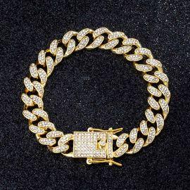 12mm Pulsera Cubana Miami de Oro con Diamantes