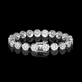 10mm Brazalete de Racimo de Flores Redondas con Diamantes de Plata