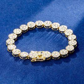 10mm Brazalete de Racimo de Flores Redondas con Diamantes de Oro