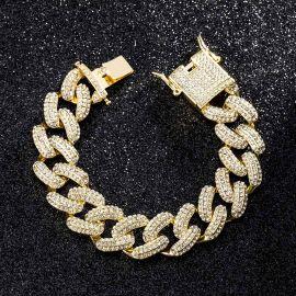 20mm Pulsera Cubano de Miami con Diamantes de Oro