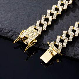 14mm Pulsera Cubana con Diamantes de Dientes de Oro