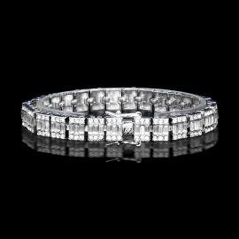 Pulsera con Diamantes Baguette de Plata de 10mm