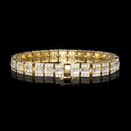 Pulsera con Diamantes Baguette de Oro de 10mm