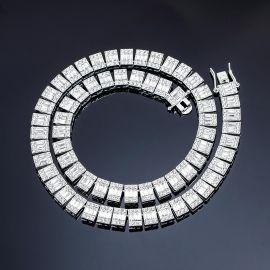 Cadena de Tenis con Piedra Baguette y Redonda de Plata de 10mm
