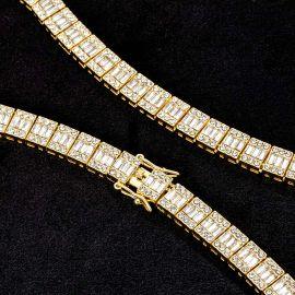 Cadena de Tenis con Piedra Baguette y Redonda de Oro de 10mm