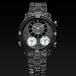 Reloj Pavimentado con Números Arábigos de Oro Negro para Hombre
