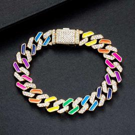 11 mm Pulsera Cubana con Diamantes Semi-engastado de Multicolor