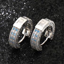 Pendiente de Aro con Diamantes Azul y Blanco de Plata
