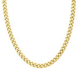 5mm Cadena Cubana Sólida de Plata 925 de Oro