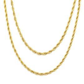 Juego de Cadenas de Plata de Ley 925 Maciza 2 Cadenas de Cuerda de 3mm de Oro