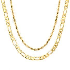 Juego de Cadenas de Plata de Ley 925 Maciza Cadena Figaro de 5 mm + Cadena de Cuerda de 3 mm de Oro