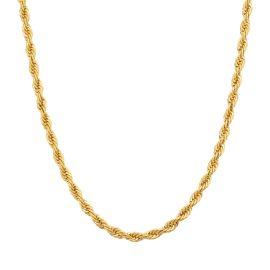 3mm Cadena de Cuerda de Plata de Ley 925 Maciza de Oro