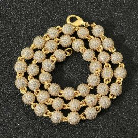 8mm Cadena de Cuentas con Diamantes de Oro