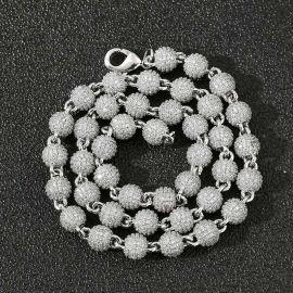 8mm Cadena con Diamantes de Cuentas de Plata