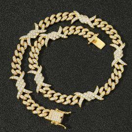 11mm Cadena Cubana de Alambre con Diamantes de Oro