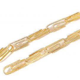 Pulsera con Diamantes de Clip de Papel de Oro
