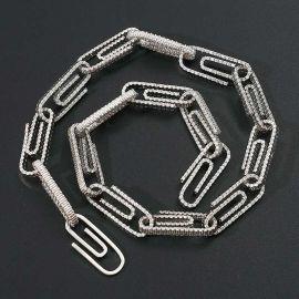 Cadena con Diamantes de Clip de Papel de Plata
