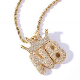 Colgante de Letras Personalizadas con Corona Burbuja de Oro