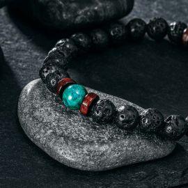 Pulsera de Piedra de Lava Negra Natural con Malaquita