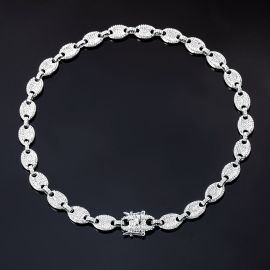 12mm Cadena de Granos de Café con Diamantes de Plata