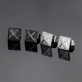 Pendientes de Botón de Pirámide con Diamantes