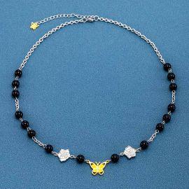 Cadena Mariposa con Perla Negra