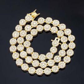 10mm Cadena de Racimo de Flores Redondas con Diamantes de Oro