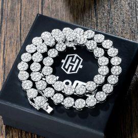 10mm Cadena de Racimo de Flores Redondas con Diamantes de Plata