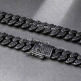 12mm Cadena Cubana de Miami de Eslabones con Diamantes Negros