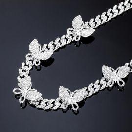 Cadena Cubana Miami con Diamantes de Eslabones con Mariposa Giratoria de Plata