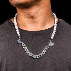 Cadena Cubana con Diamantes con Mariposa y Cuentas de Perlas