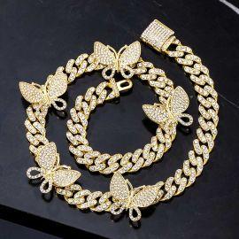 Cadena Cubana Miami con Diamantes de Eslabones con Mariposa Giratoria de Oro