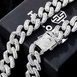 20mm Cadena Cubana Miami con Diamantes de Plata