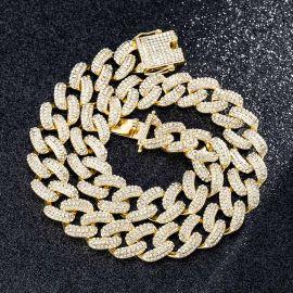 20mm Cadena Cubana Miami con Diamantes de Oro