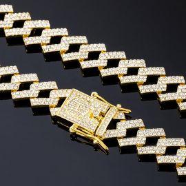 14mm Cadena Cubana de Puntas con Diamantes de Oro