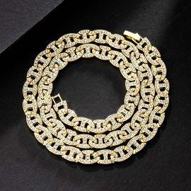 8mm Cadena de Eslabones G con Diamantes de Oro