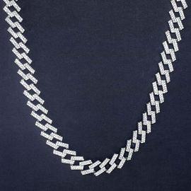 14mm Cadena Cubana de Puntas con Diamantes de Plata