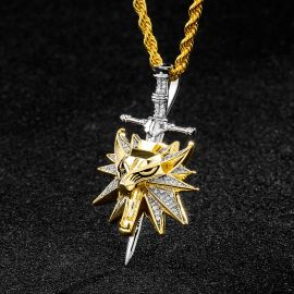 Colgante de Espada con Cabaza de Lobo de Cazador de Monstruos con Diamantes