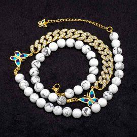 Cadena Cubana con Diamantes de Oro con Mariposa y Cuentas de Perlas