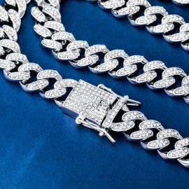 12mm Juego de Cadena Cubana Miami con Diamantes y Pulsera de Plata