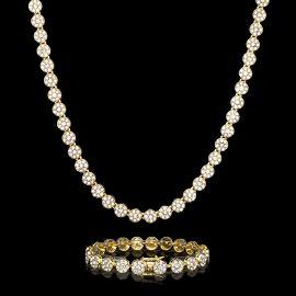 10mm Juego de Cadena de Racimo de Flores Redondas con Diamantes y Pulsera de Oro
