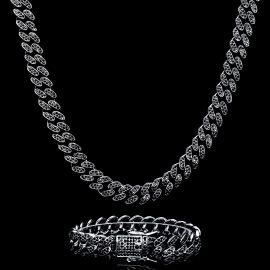 12mm Juego de Cadena Cubana Miami con Diamantes y Pulsera Negra