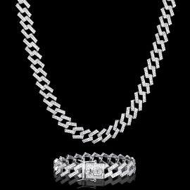 14mm Juego de Cadena Cubana con Puntas con Diamantes y Pulsera de Plata
