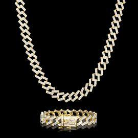 14mm Juego de Cadena Cubana con Puntas con Diamantes y Pulsera de Oro