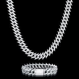 18mm Juego de Cadena Cubana con Pinchos de Diamantes y Pulsera de Plata
