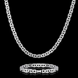 8mm Juego de Cadena de Eslabones G con Diamantes y Pulsera de Plata