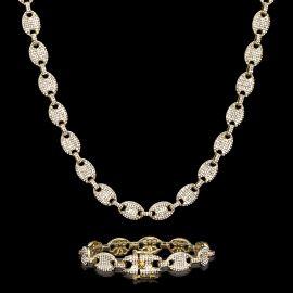 12mm Juego de Cadena de Granos de Café con Diamantes y Pulsera de Oro