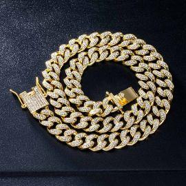 12mm Cadena Cubana de Miami con Diamantes de Oro