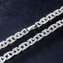8mm Cadena de Eslabones G con Diamantes de Plata